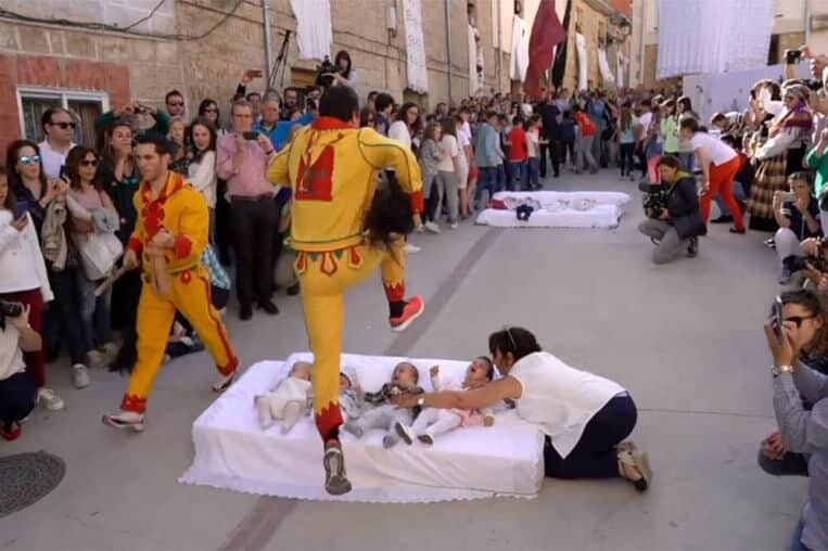 Traditional baby jumping festival in Spain