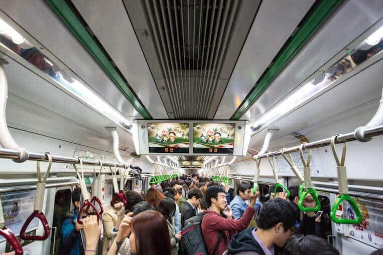 Crowded Subway in South Korea