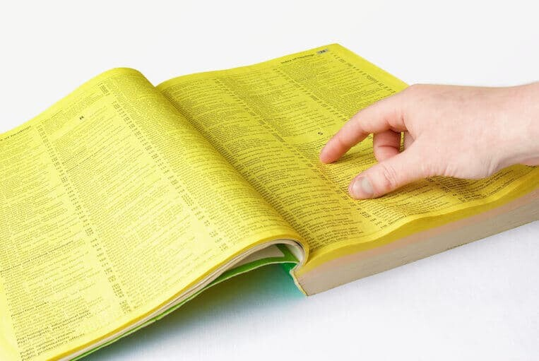 Vintage yellow pages book